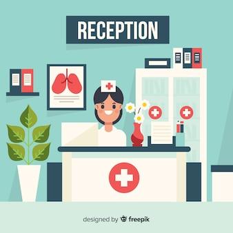 Hospital, recepção, sorrindo, enfermeira, fundo