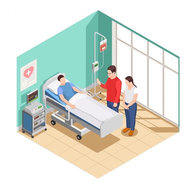 Hospital visita amigos composição isométrica