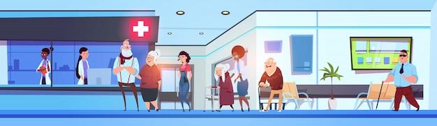 Hospitalar, corredor, interior, pacientes, e, doutores, em, clínica, sala de espera, horizontais, bandeira