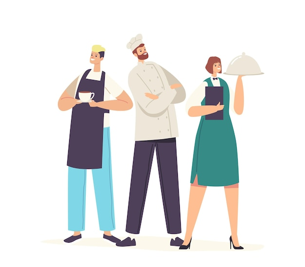 Hospitalidade, equipe de funcionários do restaurante personagens em uniforme. barman com o copo da bebida, garçonete segurando a bandeja com o prato sob a tampa do cloche e o confiante chef no toque. ilustração em vetor desenho animado