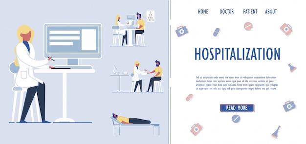 Hospitalização de pacientes e assistência médica.