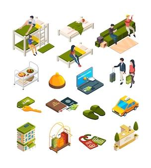 Hostel isométrico. hotel negócios símbolos sofás hostelers viajantes bagagem sofá vetor coleção. ilustração isométrica de quarto de hotel, móveis de interior 3d, recepcionista