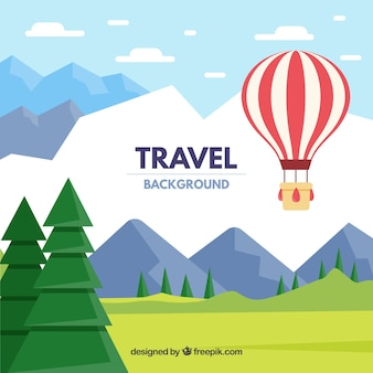 Hot air ballon travel background