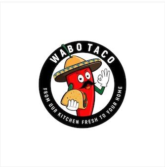 Hot chili wabo taco design de logotipo do emblema de comida fresca mexicana