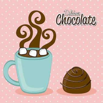 Hot chocolated sobre ilustração vetorial de fundo rosa