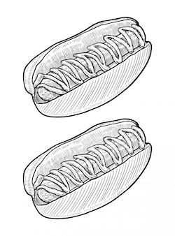 Hot dog hand drawn