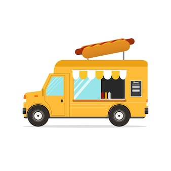 Hot dog van. transporte de fast food. ilustração