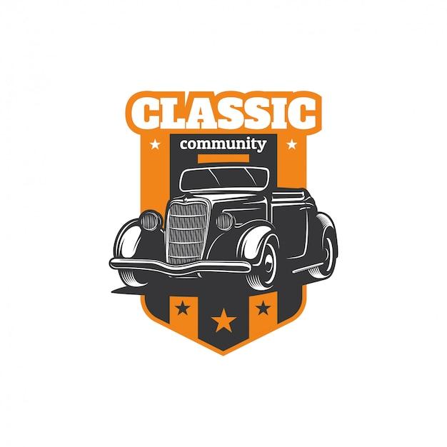 Hot rod classic car logo