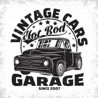 Hot rod garagem logo design retrô car garagem imprimir carimbos