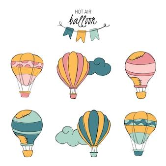 Hotairballon doodle vetor adesivos