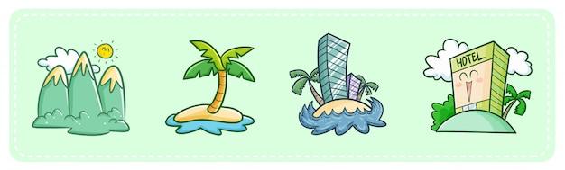 Hotéis e destinos turísticos kawaii fofos