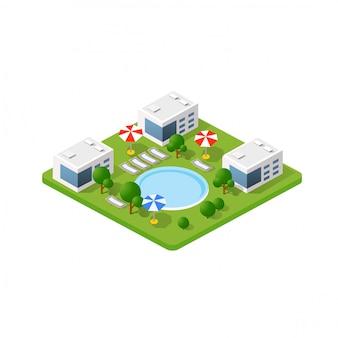 Hotel 3d isométrico com uma piscina