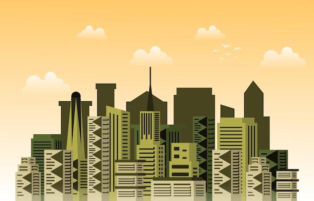 Hotel apartamento escritório negócios city building cityscape skyline ilustração