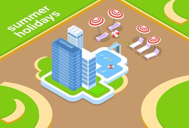 Hotel com projeto isométrico das férias de verão 3d da piscina