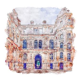 Hotel de ville paris frança esboço em aquarela ilustração desenhada à mão