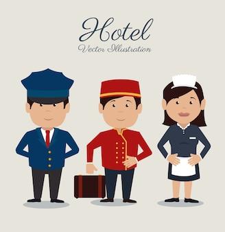 Hotel design, ilustração vetorial.