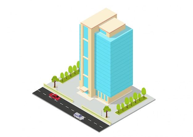 Hotel isométrico de vetor, apartamento, escritório ou prédio arranha-céu
