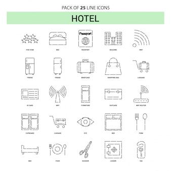 Hotel line icon set - 25 estilo de estrutura de tópicos