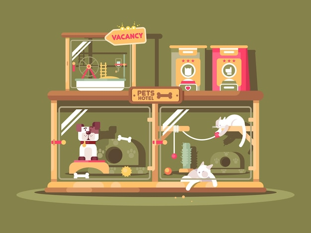Hotel para animais de estimação design plano. gatos e cães em quartos confortáveis. ilustração vetorial