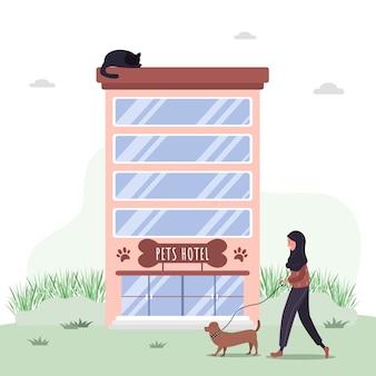 Hotel para animais de estimação. serviços de hospitais veterinários e hotéis de animais domésticos. centro de cuidados e exames de saúde de cães.