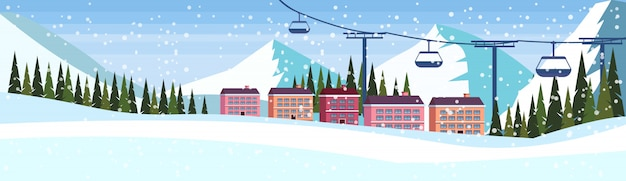Hotel resort de esqui com faixa de teleférico