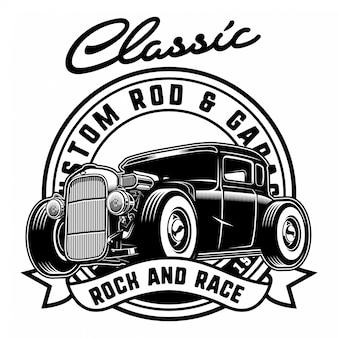 Hotrod clássico com distintivo