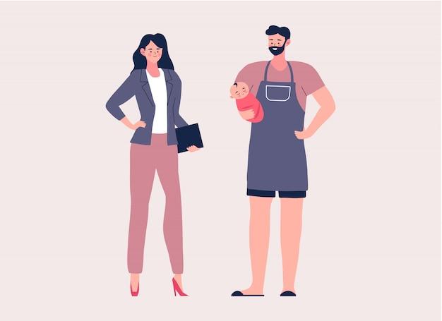 Househusband e ilustração de personagem de desenho animado de mulher de negócios