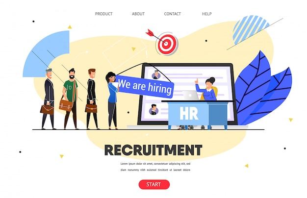 Hr, agência de recrutamento. banner da web, página de destino
