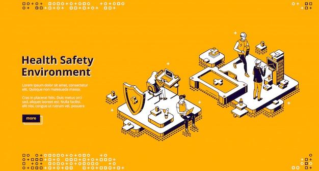 Hse, página de destino isométrica do ambiente de segurança sanitária