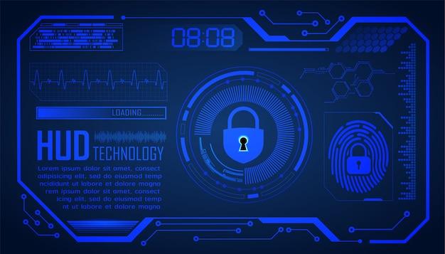 Hud de impressão digital com cadeado fechado em estilo digital, segurança cibernética