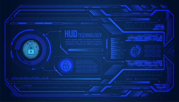 Hud de impressão digital com cadeado fechado em fundo digital, segurança cibernética