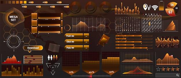 Hud de vetor amarelo dourado definido em cores de tendência para aplicativos de design e dispositivos