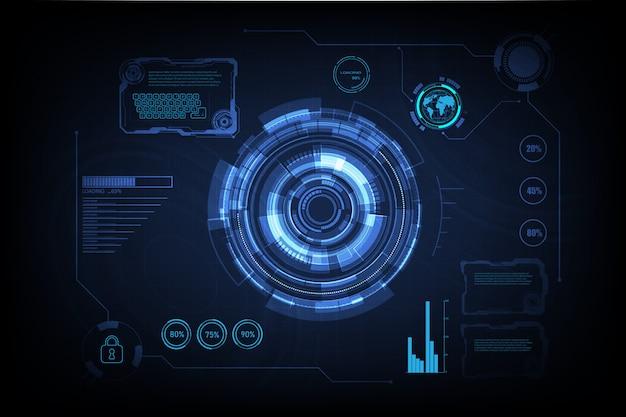 Hud interface gui futurista tecnologia de rede