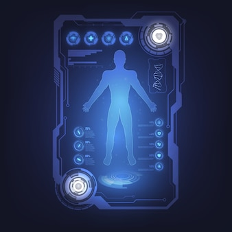 Hud interface virtual holograma futuro sistema de cuidados de saúde inovação