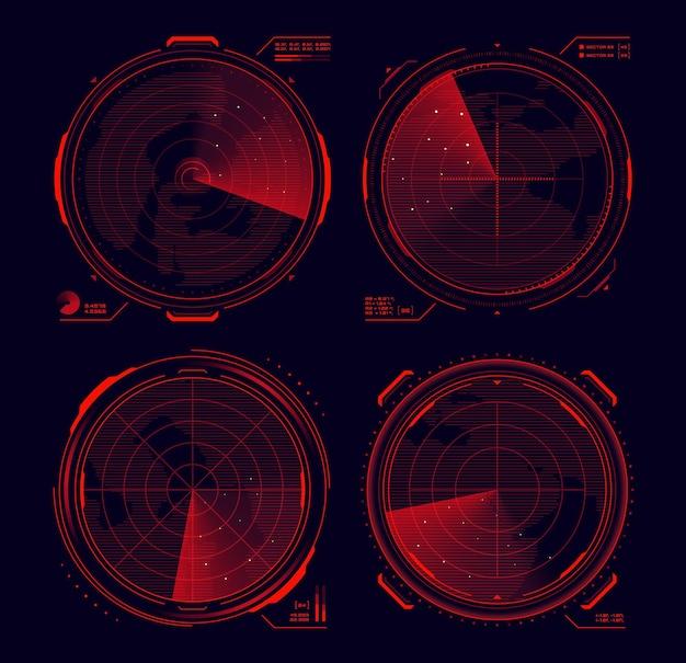 Hud radar militar, interface de exibição de alvo de sonar