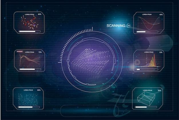 Hud radar screen interface de usuário futurista para aplicativo