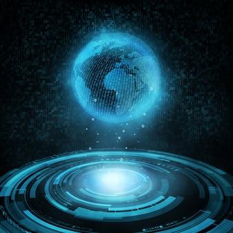 Hud tecnológico brilhante e globo holográfico