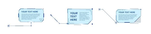 Hud títulos de texto explicativo de estilo futurista em fundo branco infográfico chamar barras de caixa de seta e moderno
