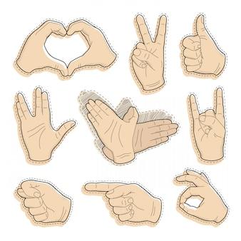 Humana mão vintage desenho com o dedo apontando, sinal de paz, gesto de amor
