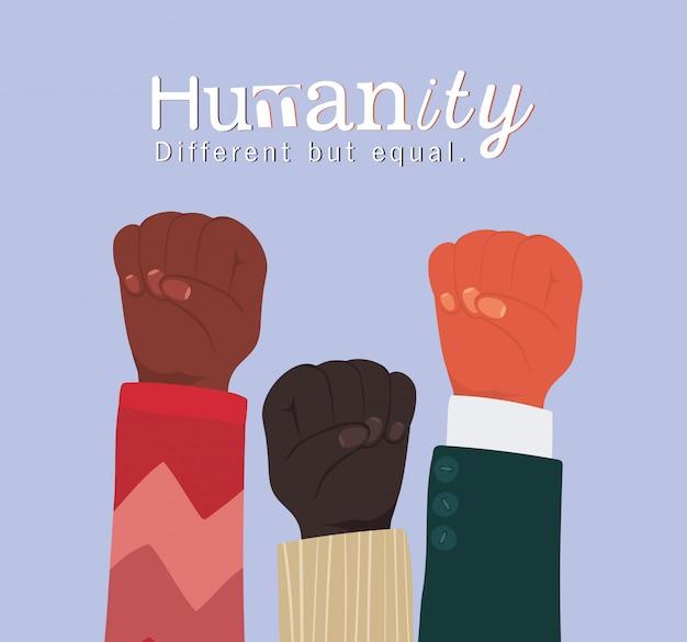Humanidade diferente, mas igual e diversidade com punhos levantados, pessoas, raça multiétnica e tema comunitário