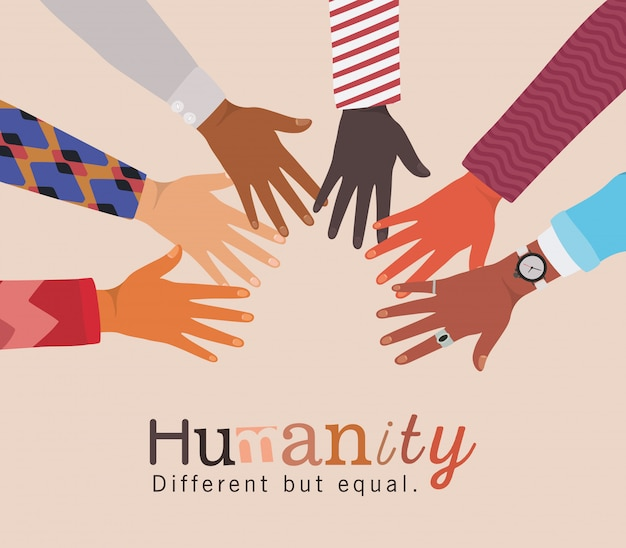 Humanidade diferente, mas igual e mãos da diversidade se tocando design, pessoas, raça multiétnica e tema comunitário