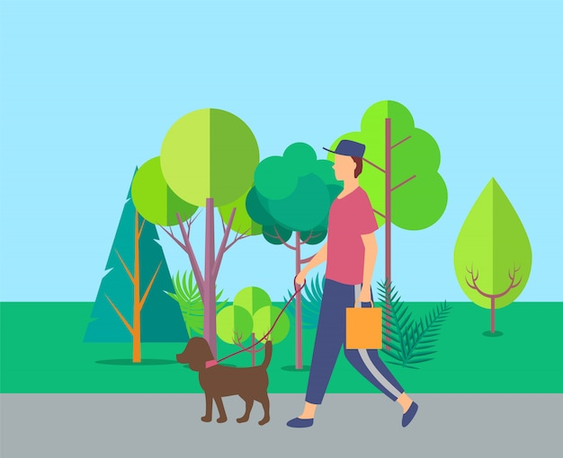 Humano andando com cachorro perto de árvores, vetor de lazer