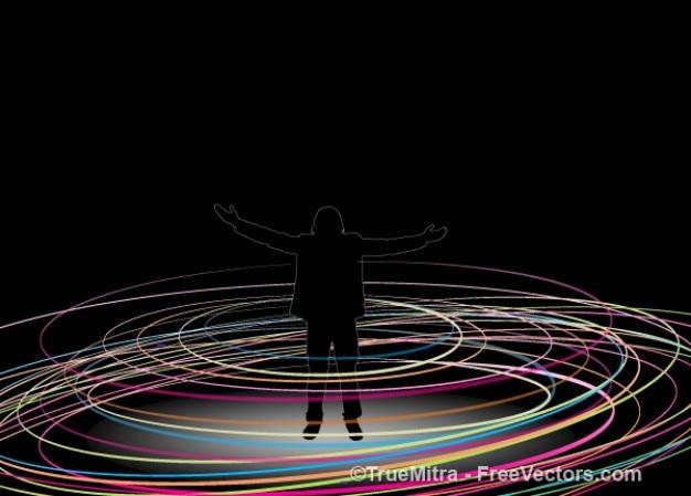 Humano com círculos coloridos