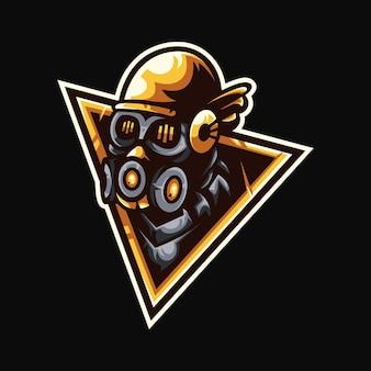 Humano com máscara de respirador mascote esport design de logotipo