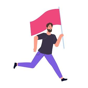 Humano correndo com uma bandeira. ilustração vetorial