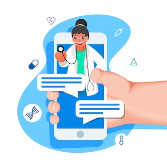 Humano online conversando no smartphone de doctor girl com elementos médicos sobre fundo azul e branco.
