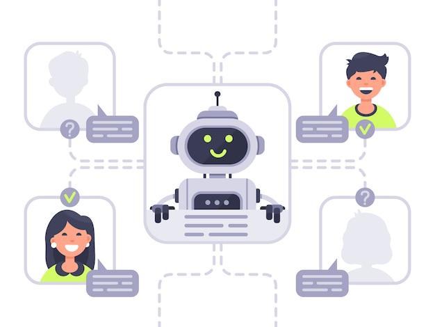 Humano se comunica com o chatbot. assistente virtual, suporte e conversação de assistência on-line com ilustração de bot de bate-papo