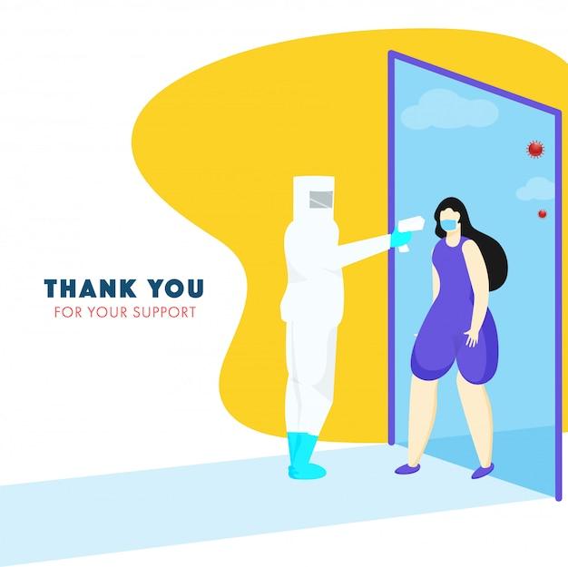 Humano usando kit ppe mede a temperatura de uma jovem no túnel de desinfecção. obrigado pelo seu apoio.