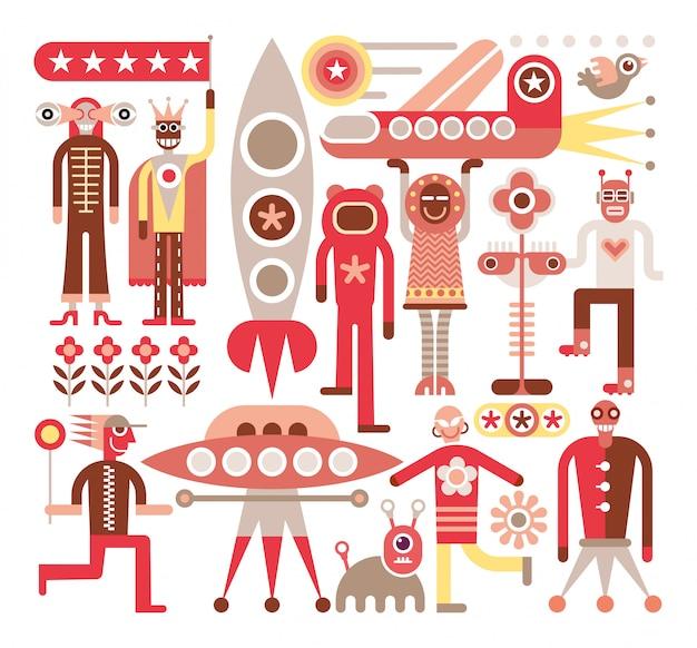 Humanos e alienígenas - ilustração vetorial