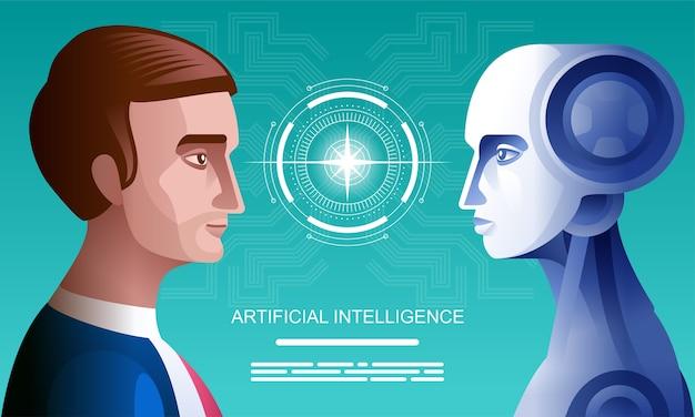 Humanos vs robôs. negócio de conceito